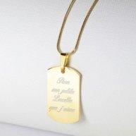 Collier plaque doré gravé
