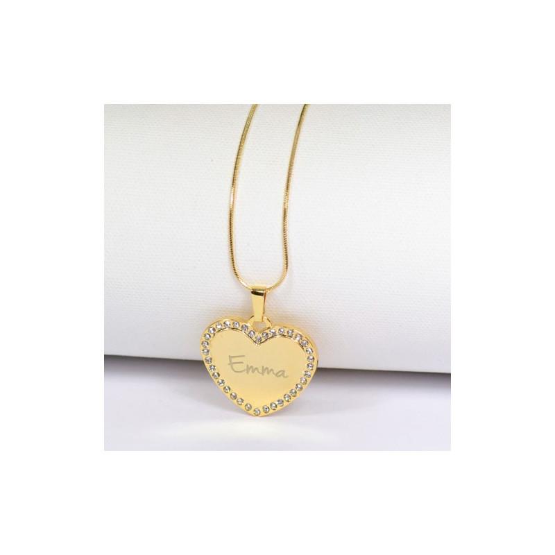 Collier coeur strass doré avec gravure