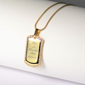 Collier strass doré avec texte gravé