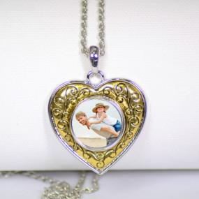 Collier coeur arabesque personnalisé