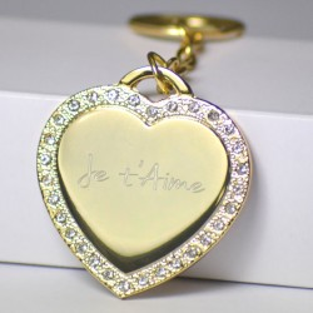 Porte clé coeur strass doré gravé texte