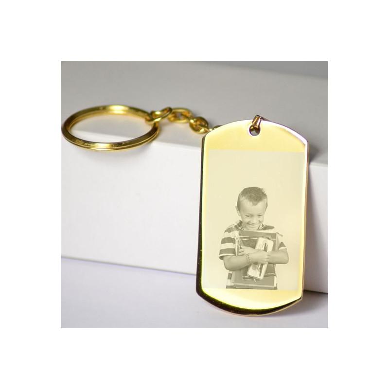 Porte clé plaque doré gravé photo