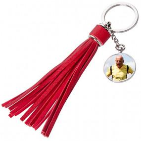 Porte clé long plumeau rouge à personnaliser