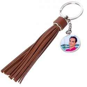 Porte clé long plumeau brun à personnaliser