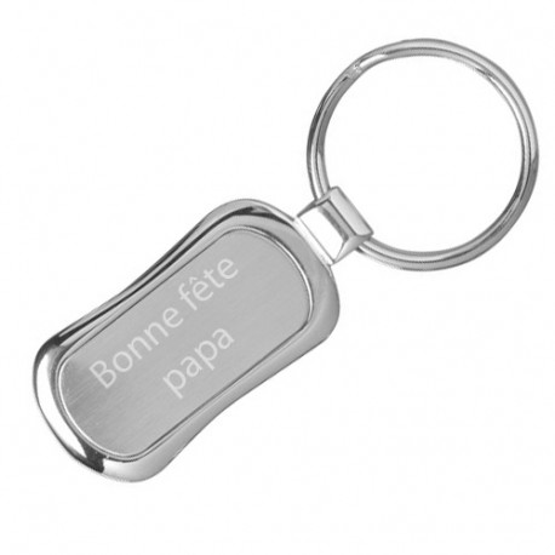 Porte clé rectangle en métal avec texte gravé