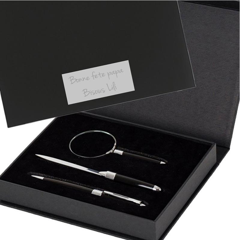 set stylo coupe papier loupe gravé
