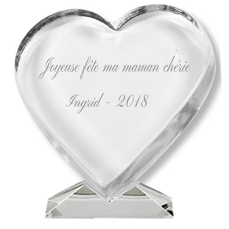 coeur verre gravé