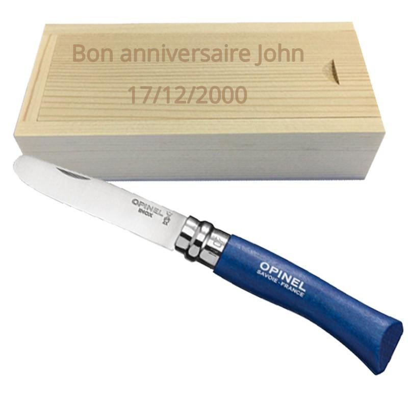 couteau opinel rond bleu et coffret gravé