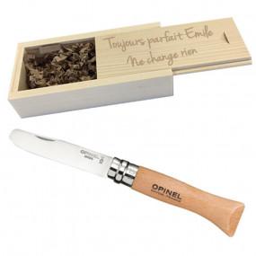 Couteau Opinel avec coffret gravé