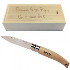 Couteau opinel de jardin et coffret bois gravé