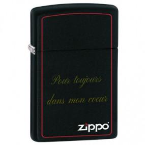 Briquet Zippo noir avec bords rouges et texte gravé