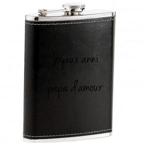 Flasque cuir noire gravée