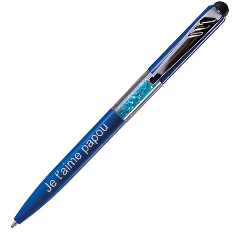 Stylo strass bleu gravé