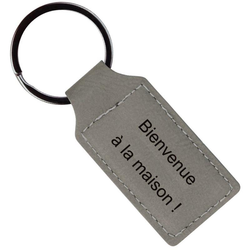 Porte clé cuir beige personnalisé