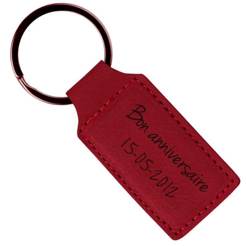 Porte clé simili cuir rouge