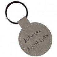 Porte clé rond cuir beige gravé texte