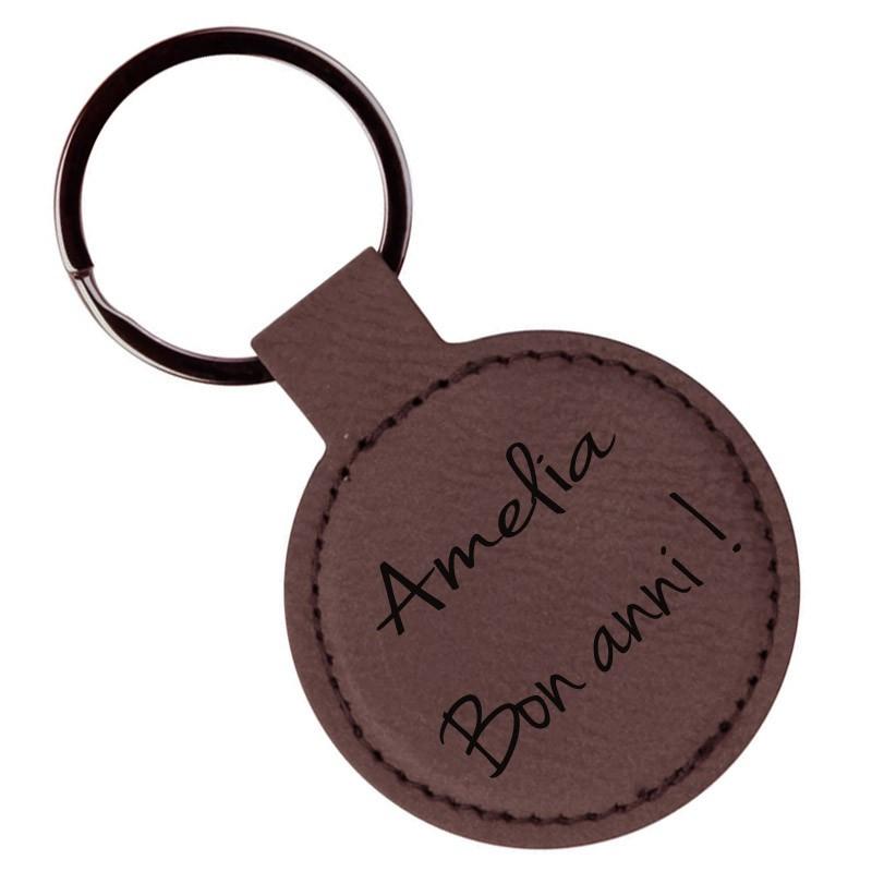 Porte-clef rond en cuir brun