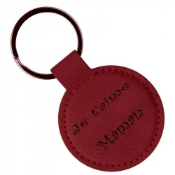 Porte clef cuir rouge rond