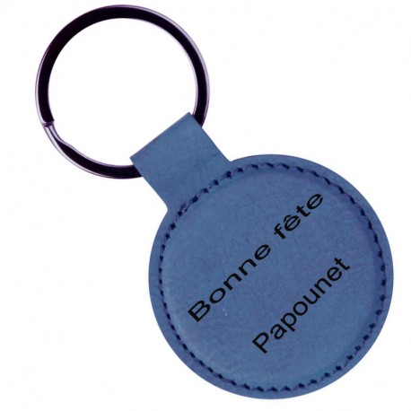 Porte clé cuir rond bleu gravé