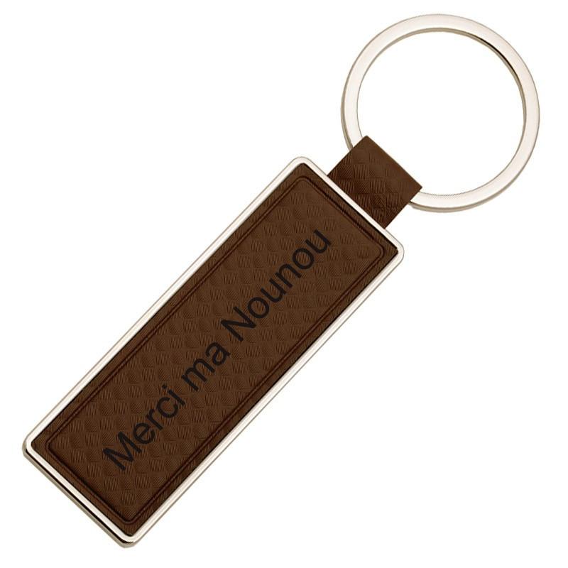 Porte clef cir brun et métal