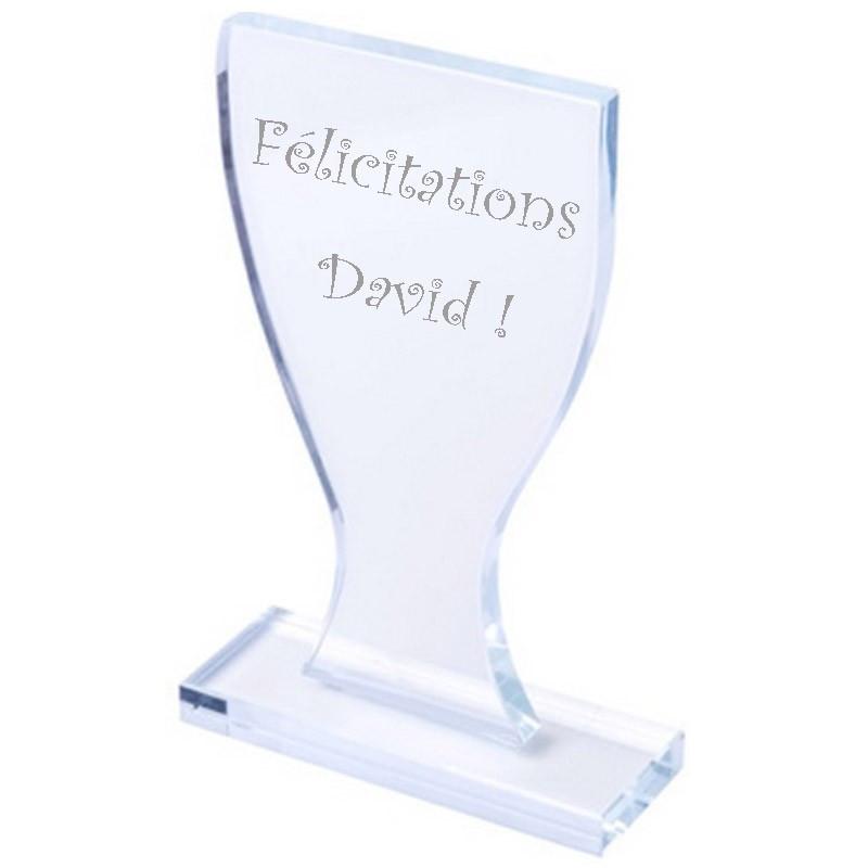 Trophée verre gravé