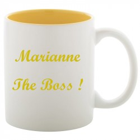 Mug blanc et jaune gravé