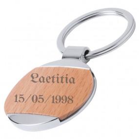Porte clé bois rond avec gravure