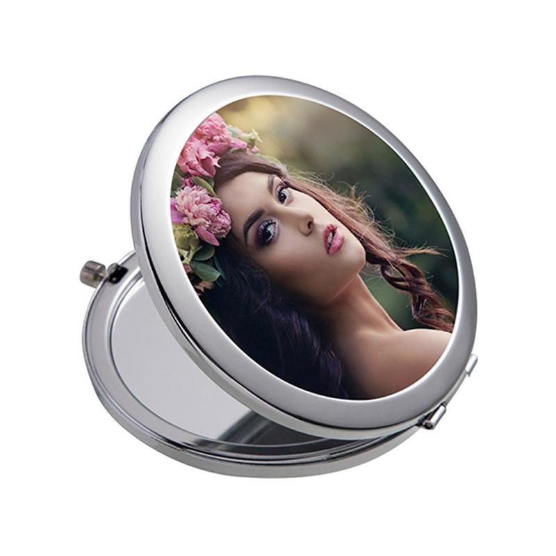 Miroir de poche rond à personnaliser