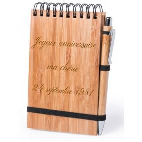 Bloc notes en bambou avec gravure texte