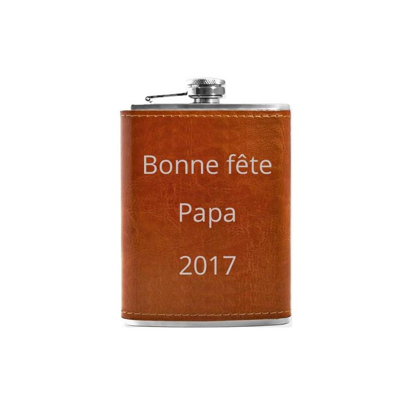 Flasque cuir marron gravée