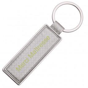 Porte clef cuir et métal argenté