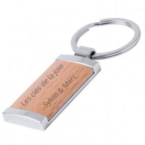 Porte clé rectangle en bois gravé