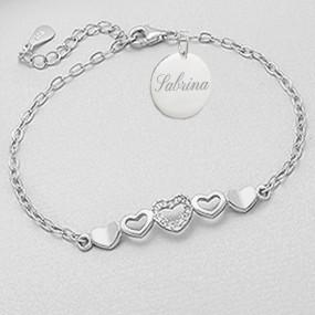 Bracelet multi coeur gravé