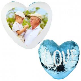 Coussin sequin coeur bleu
