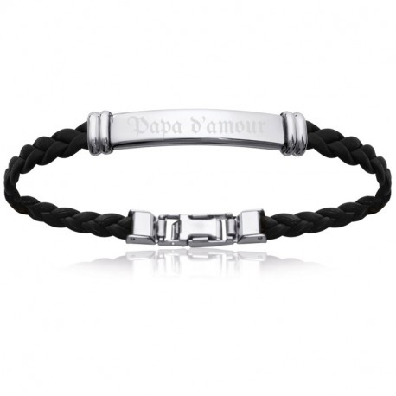 Bracelet homme torsadé noir gravé