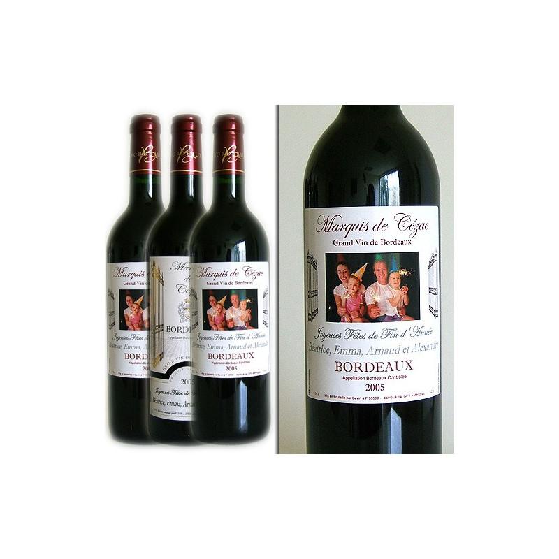 Vin Bordeaux étiquette personnalisée