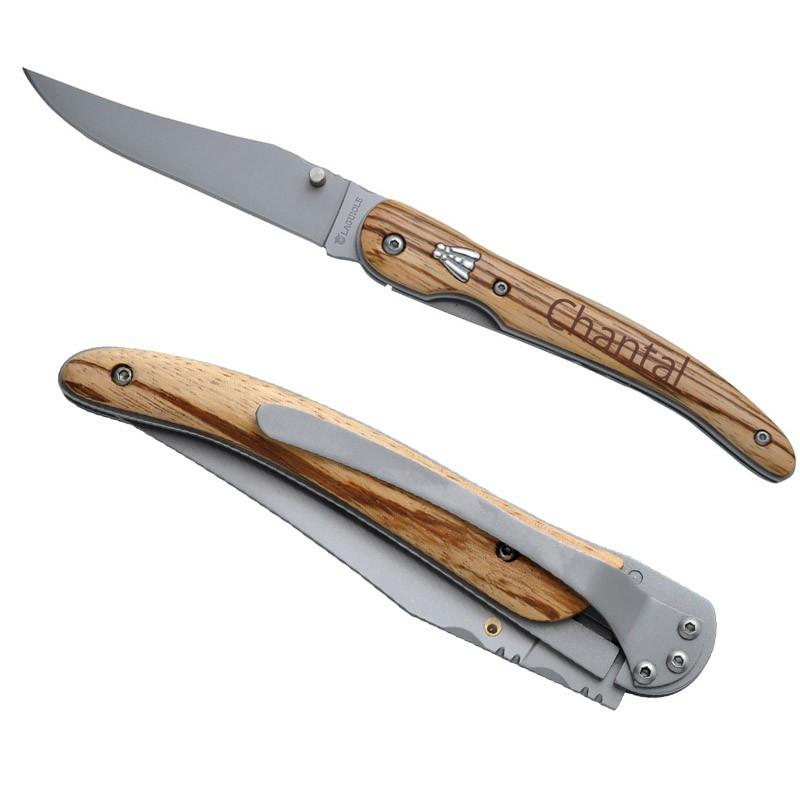 Couteau laguiole frene clip grave
