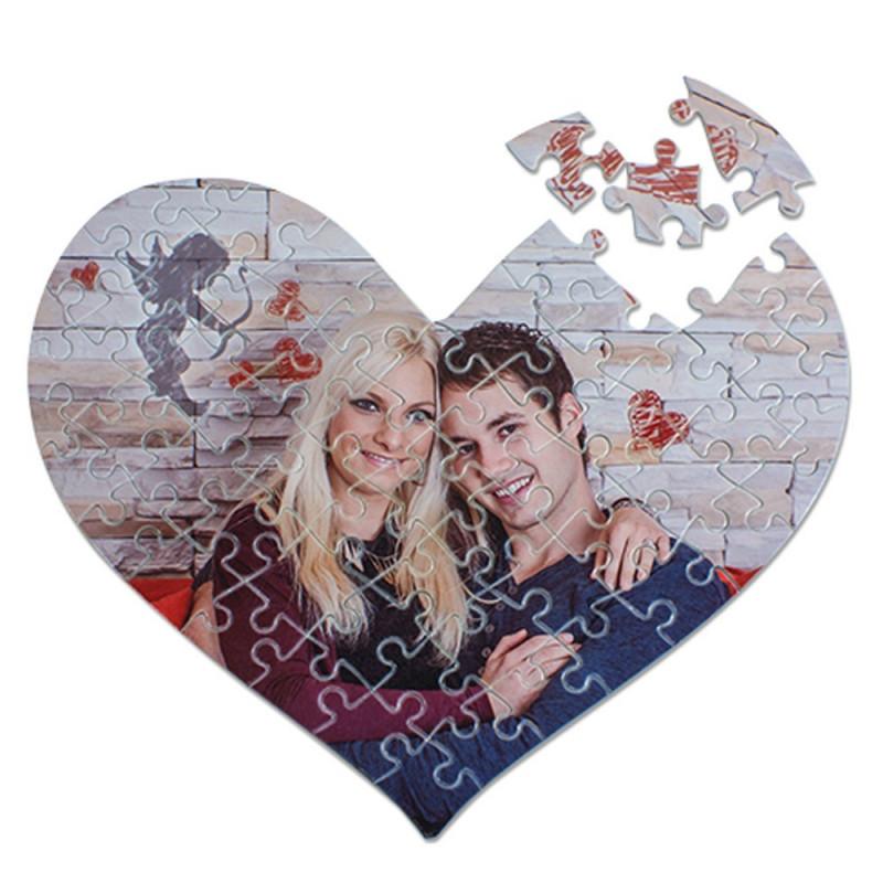 Puzzle coeur avec photo dessus
