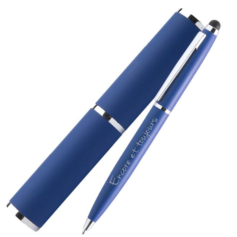 Tube et stylo bille bleu