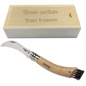 Couteau champignon opinel n°8 avec coffret gravé