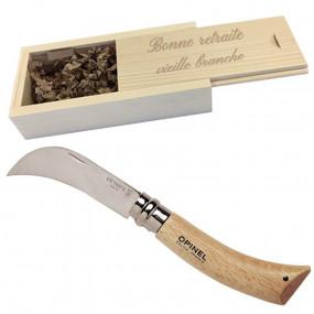 Couteau serpette opinel dans son coffret gravé