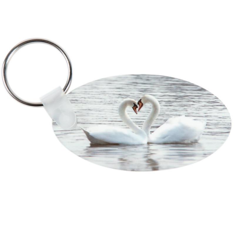 Porte clé ovale avec impression photo recto verso