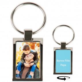 Porte clé métal rectangle avec photo recto et verso