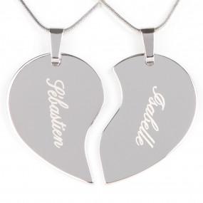 Collier coeur séparabale argenté gravé