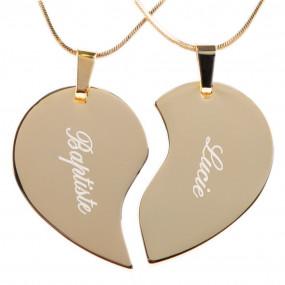 Collier coeur séparable or avec texte gravé