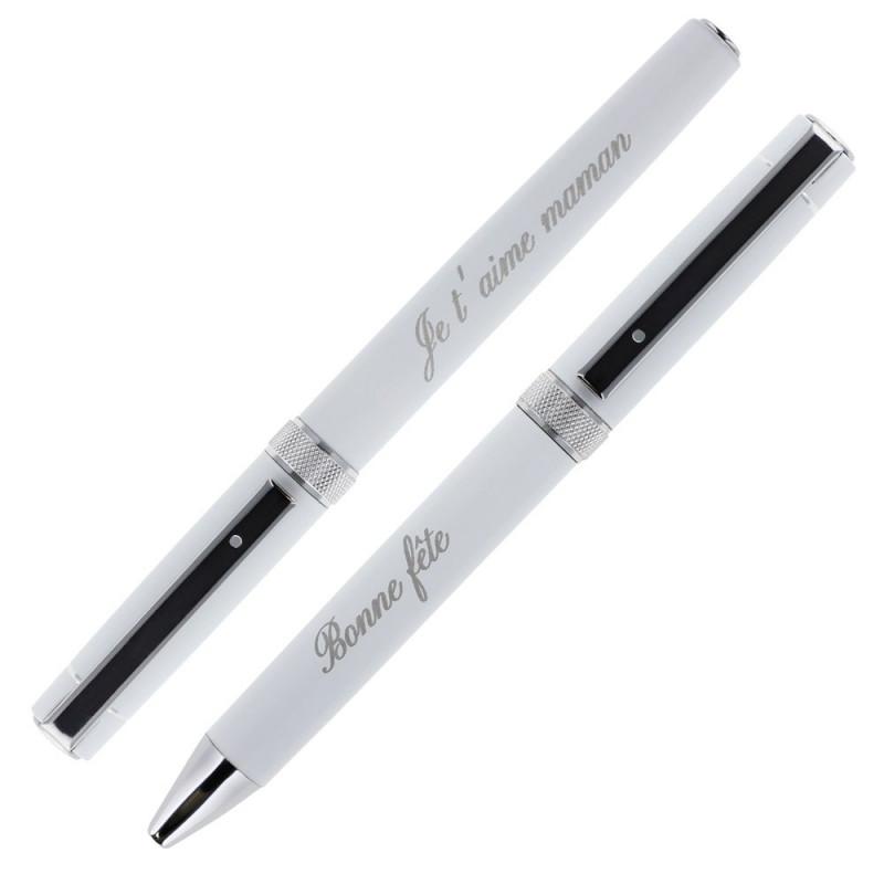 Parure 2 stylos blancs