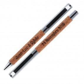 Parure de stylos liège gravés