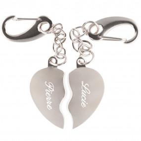 Porte clés coeur séparable gravé personnalisé