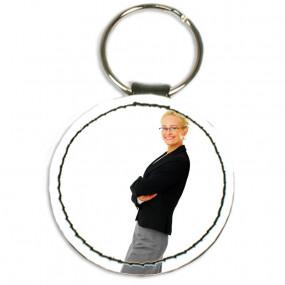 Porte clé cuir rond avec photo