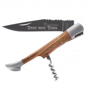 Couteau Laguiole frêne gravé